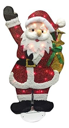 55e0368f25f4c 32 Santa Yard Decor Art Figure Christmas Lights Red Tinsel Electric 2D    Read more at