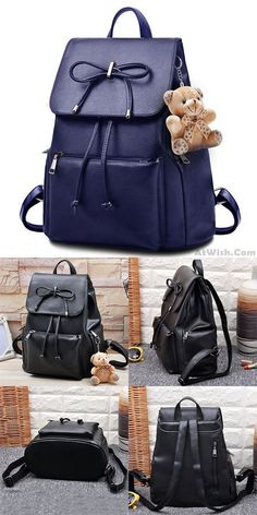 2b751d662 Elegant Bear Doll PU Flap Draw String Large Capacity Bow College Backpacks  for big sale!