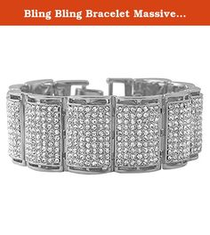 Bling Bling Bracelet Massive Size Hip Hop Style Rhodium. Bling Bling Bracelet Massive Size Hip Hop Style Rhodium. This rhodium hip hop bracelet is extra wide and shines like a million bucks. Covered in faux diamond crystals that shine bright and look expensive, but still affordable. Perfect to ice out any mans wrist. Celebrities, rappers, and hip hop artists wear bling bling bracelets. Here is your chance to get this iced out bracelet at an affordable price.