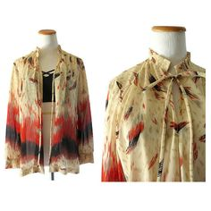 Sheer Cardigan Blouse 70s Sheer Top Boho Hippie Top Festival Lightweight Shawl Open Layering Top Abstract Brushstrokes Print