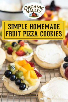 Summer Dessert Recipes, Fruit Recipes, Just Desserts, Appetizer Recipes, Baking Recipes, Delicious Desserts, Appetizers, Fruit Pizza Cookies, Deserts