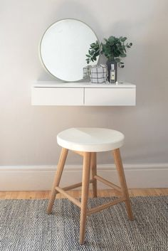 Dressing Table For Small Space, Narrow Dressing Table, Small Vanity Table, Small Dressing Rooms, Small Tables, Bedroom Dressing Table, Dressing Table On Wall, Dressing Tables, Dressing Table Inspo