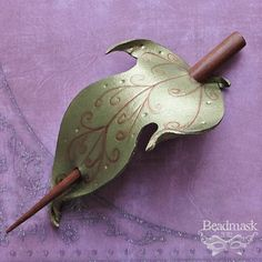 Elven Leaf  Leather Hair Slide  Fantasy Style In by beadmask, $20.00