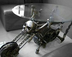 Awesome///must have skull/motorcycle coffee table Skull Furniture, Gothic Furniture, Funky Furniture, Unique Furniture, Dark Furniture, Plywood Furniture, Furniture Design, Gothic Interior, Gothic Home Decor