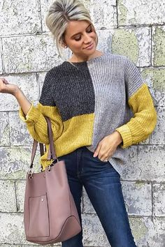Women Yellow Color Block Long Sleeve Casual Pullover Sweater - M