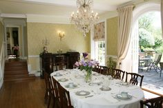 The dining room in Byfleet Manor, the Dowager Countess' House from Downton Abbey