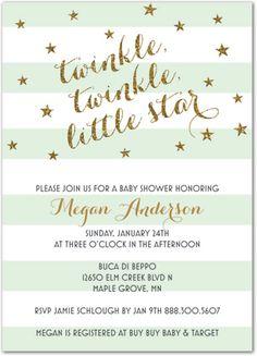 Mint Stripes Gold Glitter Twinkle, Twinkle Little Star Rehearsal Dinner Invitations