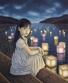 """""""Shining River"""" huile sur toile par Shiori Matsumoto (1973) artiste japonaise."""