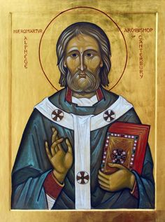 "April 19th - St. Alphege: Archbishop and ""the First Martyr of Canterbury."" He was born in 953 and became a monk in the Deerhurst Monastery in Gloucester, England, asking after a few years to become a hermit. He received permission for this vocation and retired to a small hut near Somerset, England. In 984 Alphege assumed the role of abbot of the abbey of Bath, founded by St. Dunstan and by his own efforts."