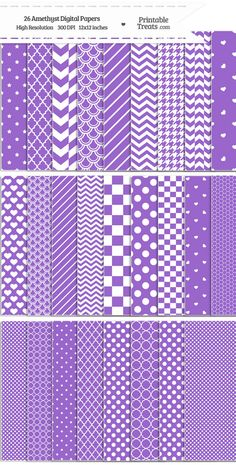 26 Amethyst Digital Paper Set Download from PrintableTreats.com