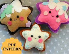 Felt Gingerbread cookie pattern Christmas ornaments Gingerbread star felt pattern PDF Gingerbread star sewing pattern for Christmas tree toy