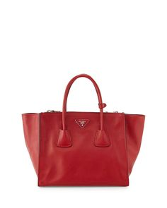 Prada City Calf Large Twin-Pocket Tote Bag Red #fashionhandbags