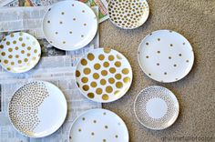 A Home Full Of Color: Polka Dot Plate Art With A Sharpie
