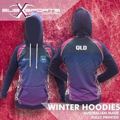 Keep your team mates warm this winter in a custom made @subxsports sublimated hoodie ❄️ Min. 20 Custom Design sales@subxsports.com.au #subxsports #hoodie #hoodies #teamwear #uniforms #sportsclothing #traininggear #club #school #workwear #sportswear #qld #queenslander #queensland #maroons #madeinqld #australianmade Queenslander, Team Wear, Winter Hoodies, North Face Backpack, Workwear, Sport Outfits, Wetsuit, Custom Made, Sportswear
