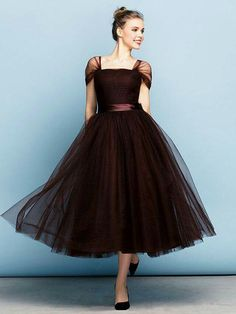 Formal Evening Dress - Chocolate Plus Sizes / Petite Ball Gown Square Tea-length Tulle Prom Dresses 2017, Ball Dresses, Cute Dresses, Beautiful Dresses, Ball Gowns, Girls Dresses, Prom Gowns, Evening Dresses Plus Size, Formal Evening Dresses