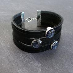 Bracelet Manchette Cuir & Perles Passantes Bleu métallique - Bijou Homme Graphique Minimaliste et Moderne : Bijoux pour hommes par l-oiseau-seraphine