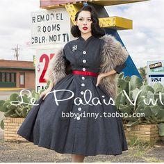le palais vintage women 50s gray long batwing sleeve swing pleated wool shirt  dress rockabilly pin 34d098577d11
