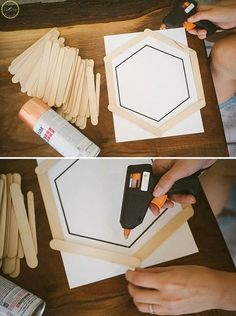 See how to use popsicle sticks to make gorgeous decor for your wall: diy popsicle stick hexagon shelf Diy And Crafts Sewing, Crafts To Sell, Home Crafts, Diy Crafts, Cool Diy, Easy Diy, Diy Eis, Light Up Canvas, Hexagon Shelves