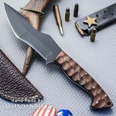 ALONZO KNIVES USA CUSTOM HANDMADE TACTICAL TANTO 1095 KNIFE WOOD HANDLE 1342 #AlonzoKnives