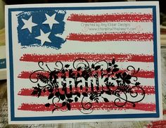 Work of Art Patriotic Thank you card with Seasonally Scattered - Stampin Up