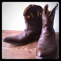 Leather Cowgirl Boots Loblan Leather cowgirl boots with moon and star design. From Sundance Catalog. In great condition. Worn only a couple times. They are a UK Men's 7, which is equal to a US Women's 9. Loblan  Shoes Ankle Boots & Booties