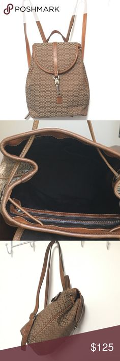 """Coach Backpack Authentic and in like new condition. Coach signature backpack measures 10"""" tall, comes with leather straps, drawstring, and clip closure. Pockets inside and on the outside (on the back). Interior is dark brown in like new condition. Coach Bags Backpacks"""