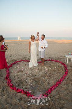 Rose Petal Heart beach wedding ceremony decorations in Bethany Beach Delaware by Rox:  https://www.roxbeachweddings.com/