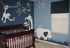 Fun and Cute Abstract Animals Jungle Cartoon Wall Murals Stickers in Nursery Baby Bedroom Decorating Designs Ideas