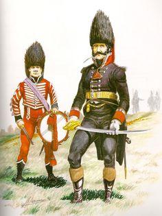 Regimiento de Infantería nº 1 de Alto Perú 1814 Capitán y tambor