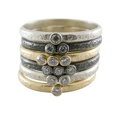 Sarah Swell mixed metal & diamond weathered stacking rings