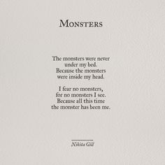 Monsters - Nikita Gill                                                                                                                                                                                 More