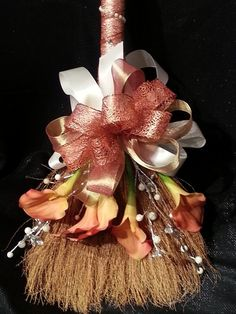 My jump broom:) GORGEOUS! Coral Crush Wedding Broom with Coral Calla Lillies and Ivory & Pearl Accents