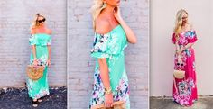 Off the Shoulder Floral Maxi Dress 54% Off $29.99 Teal Pink High Fashion Style Summer