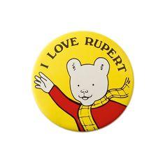 Vintage Rupert Bear Badge  'I Love Rupert' by FabPins on Etsy, £2.25