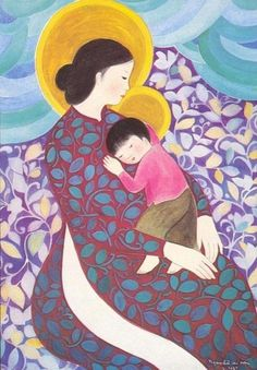 How sacred the love between Mother and child...  Virgin and Child - Vietnamese style