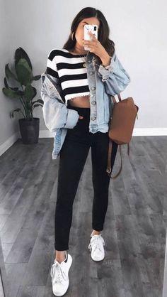 40 popular teen fashion college looks amazing # outfits # mädche . - 40 popular teen fashion college looks great # outfits # mädchen# schule # school # sprin - Teen Fashion Outfits, Mode Outfits, Look Fashion, Outfits For Teens, Trendy Outfits, Trendy Fashion, Fashion Trends, Womens Fashion, Fashion Fall