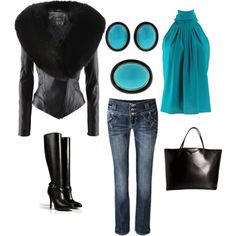 """""""Turquoise and Onxy"""" by kaleigha on Polyvore"""