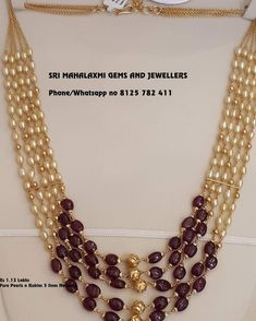 Fine quality pearls and pure Rubies 5 lines necklace made with pure passion. from Sri Mahalaxmi Gems and Jewellers Bead Jewellery, Pearl Jewelry, Beaded Jewelry, Indian Jewelry, Jewellery Designs, Bridal Jewellery, Pendant Jewelry, Western Jewellery, Chain Jewelry