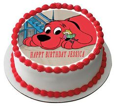 Clifford The Big Red Dog Edible Birthday Cake Topper