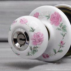 Rose Decor Ceramic Home Ball Knob Door Lock