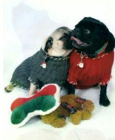 """ gimme a kiss you big, bad santa "" ;) Pug Love"