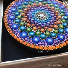 Mandala wood disc framed acrylic painting zentangle zen sacred