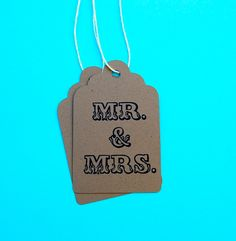 Mr and Mrs Hang Tags / Set of 10 by littlechicklets on Etsy, $5.75