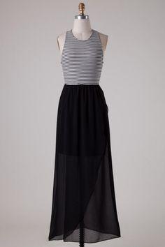 Striped Top Chiffon Bottom Layered Maxi Dress - Black/White