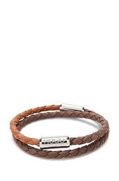 2-tone wrap bracelet in leather: 'E-BIBRAID', Dark Brown