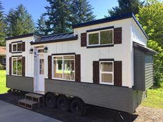 Beautifully designed exterior with faux shutters and a metal roof. Small Floor Plans, Small House Plans, House Floor Plans, Small Tiny House, Tiny House On Wheels, Tiny Tiny, Small Homes, Tiny Living Rooms, Tiny House Living