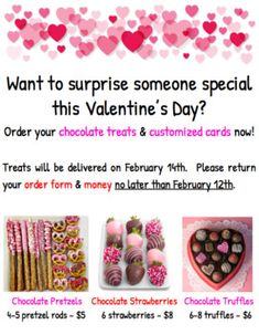 Valentine's Day chocolate fundraiser - Flyer and order form Valentines Day Chocolates, Valentine Chocolate, Valentines Day Treats, Chocolate Treats, Chocolate Truffles, Valentine Ideas, Chocolate Covered Apples, Chocolate Covered Strawberries, Chocolate Fundraiser
