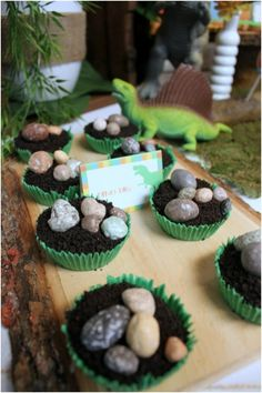Dinosaur Party ~ dirt cake topped with chocolate rocks. I love chocolate rocks they are so fun Dinosaur Cake, Dinosaur Birthday Party, 3rd Birthday Parties, Boy Birthday, Dinosaur Eggs, Birthday Ideas, Garden Birthday, Party Garden, Unicorn Party