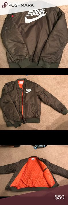 Nike Tokyo Style Bomber Jacket, Green Selling my Nike Tokyo STYLE inspired Bomber jacket by Big Sam Clothing. The size tag says 5 XL but it fits like an oversized XL. I normally wear 2-3XL USA men's sizing but this is obviously Asian sized. So please advise and really understand the sizing behind this. I bought it for $75 and never wore it outside since it looks small on me. I can't even zip up the front which is why I'm selling it and trying to get some of my money back. It's NEW without…