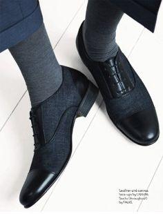 Lanvin leather & cavas lace-ups